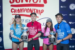 Caption: Champions Macy Callaghan and Ethan Ewing with runner-up Mahina Maeda and Griffin Colapinto. Pic: WSL/Cestari