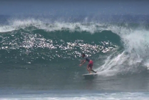 "MARLON GERBER SURFING BALI WITH 5'4"" TWIN-FIN"