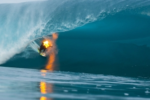 Jamie O'Brien surfs Teahupo'o literally on fire!