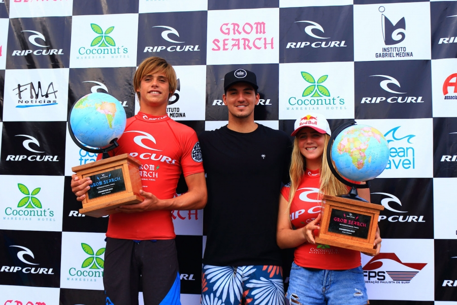 The winners with Gabriel Medina