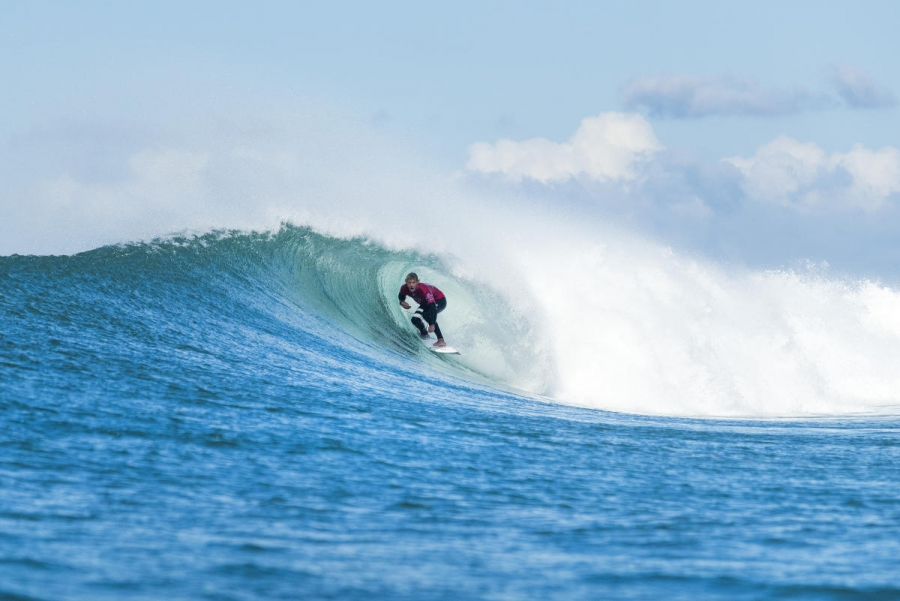 Reigning World Champion John John Florence of Hawaii advancing directly to Round Three of the Corona Open J-Bay after winning Heat 6 of Round One at Supertubes, Jeffreys Bay, South Africa.