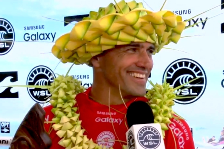 Kelly Slater won for the fifth time in Teahupoo