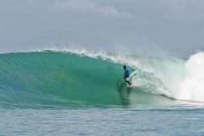 Caption: Justin Bu'Ulolo is the local hero at the Nias Pro. Credit:© WSL / Tim Hain