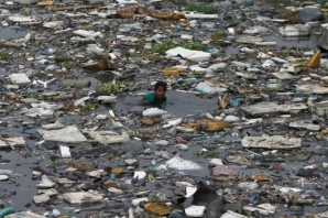A boy searches for fish in the polluted sea backwaters near marina beach in the southern Indian city of Chennai July 3, 2013. REUTERS/Babu/File Photo