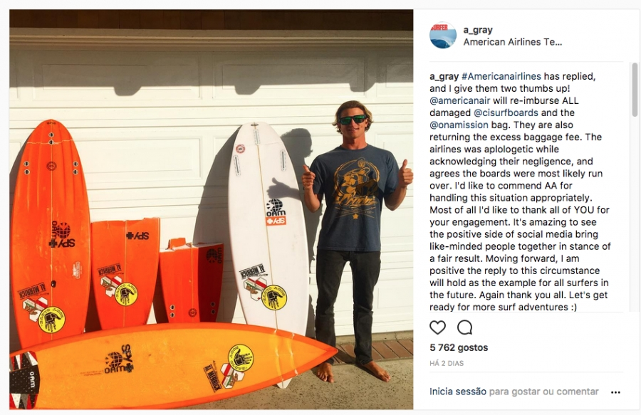 American Airlines Reimburses Alex Gray $3,500 for Broken Surfboards