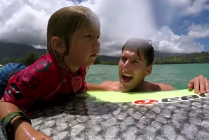 Axel Irons Surfs with Uncle Bruce During the Pine Trees Classic