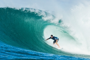 Julian Wilson in his first deep barrel during the final